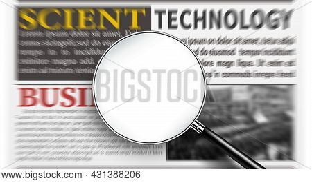 Magnifying Glass With Blank White Screen Over Newspaper For Adding Text To Display Your Message. Fin