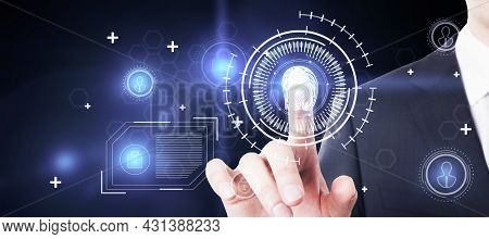 Businessman Hand With Creative Glowing Id Thumbprint Interface With Digital Icons. Biometrics And Se