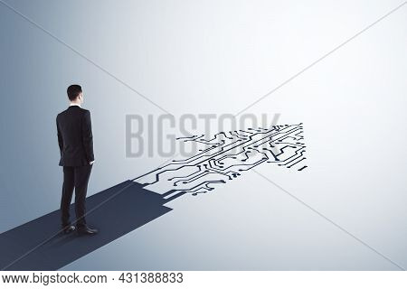 Businessman Standing On Abstract Circuit Arrow Sketch On White Background With Mock Up Place. Succes