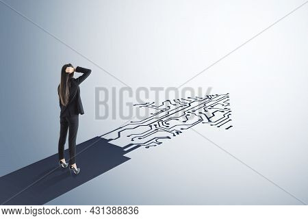 Businesswoman Standing On Abstract Circuit Arrow Sketch On White Background With Mock Up Place. Succ