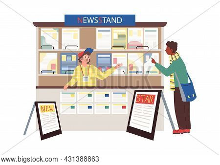 Man Buying Newspaper In Newsstand, Flat Cartoon Vector Illustration Isolated.