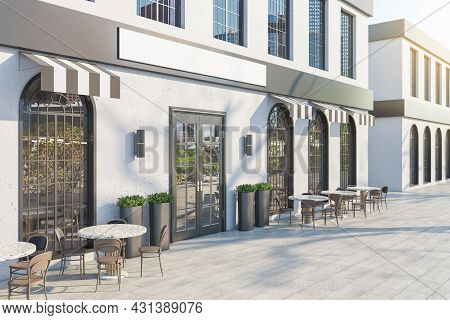 Luxury Concrete Cafe Exterior With Terrace Furniture And Empty White Sign In Daylight. Mock Up, 3d R