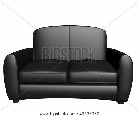 3D Black leather sofa on a white background