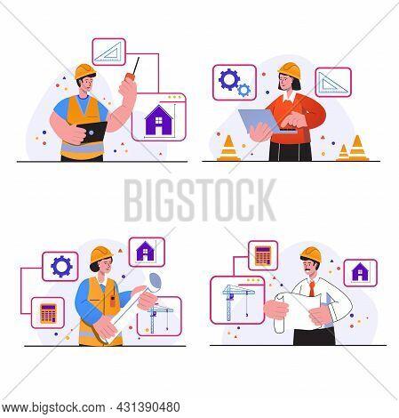 Construction Engineer Concept Scenes Set. People In Helmets Develop House Plan, Drawing Blueprint, D