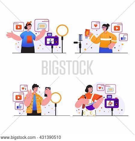 Video Blogging Concept Scenes Set. People Create Videos Using Cameras Or Smartphones, Record Tutoria