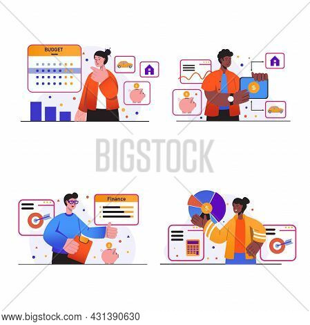 Planning Financial Budget Concept Scenes Set. People Making Financial Plan, Keep Home Accounting, St