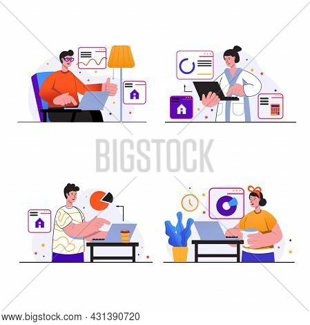 Freelance Working Concept Scenes Set. People With Laptops At Home, Freelancers Perform Online Work T
