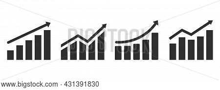 Set Of Growing Graph Icons. Profit Growing Vector, Chart Increase Profit. Graph With Arrow. Vector I
