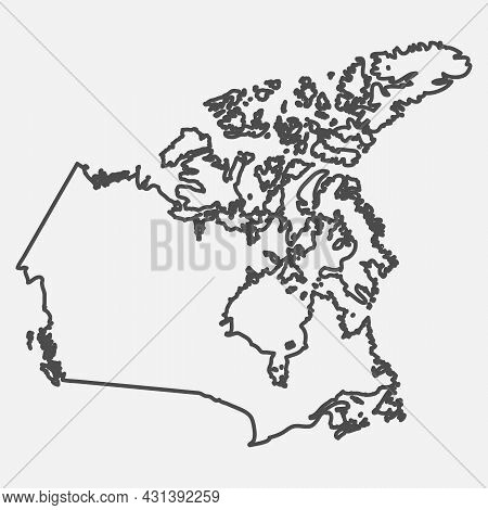 Line Map Of Canada. Silhouette Of Canada Country Map. Vector Illustration.