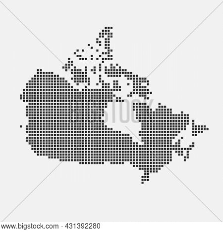 Pixel Black Of Canada Map. Map Of Canada. Silhouette Of Canada Country Map. Vector Illustration.