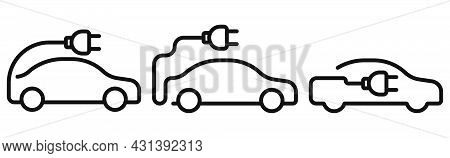 Electric Car Icon. Electrical Automobile Cable Contour And Plug Charging Black Symbol. Vector Illust