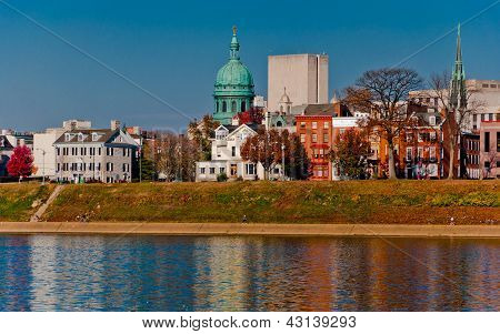 The Harrisburg Skyline from City Island, seen across the Susquehanna River.