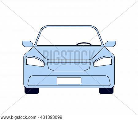 Blue Travel Car Front View. Auto Trip, Vehicle. Transport For Auto Tourism. Vector Illustration