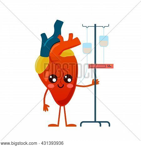 Prevention And Treatment Heart Disease. Cartoon Body Organ Mascot. Cute Character With Medical Dropp