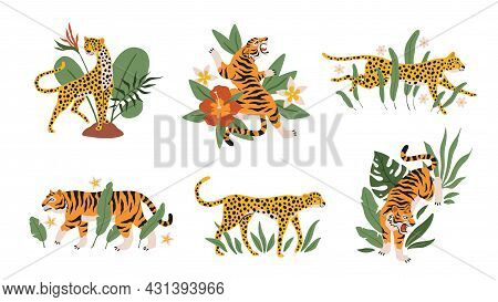 Tropical Leaves With Tigers, Leopards And Jaguars. Beautiful Mini Compositions With Wild Animals And