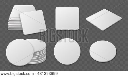 Beer Coaster Stacks. Realistic Paper Round And Square Shapes For Glasses Drinks, Blank Cardboard Bie