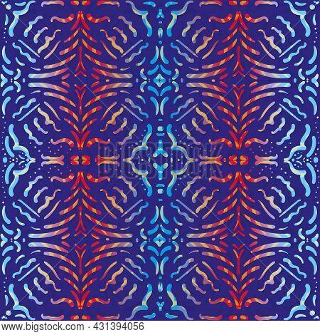 Bright Moorish Style Geometric Vector Seamless Pattern Background. Moroccan Mosaic Effect Painterly