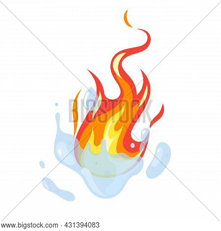 Fire Fighting. Water Extinguishing. Cartoon Firefighting Sign With Aqua Splash And Red Flames. Emerg