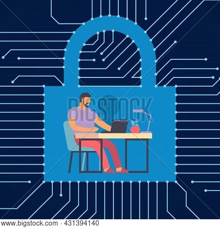 Protected Workflow. Man Working At Computer. Digital Security. Information Encryption. Lock With Key