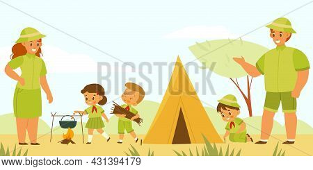 Mentors And Scouts. Kids Camping Tourism. Young Explorers Pitch Tent And Cook At Campfire. Children