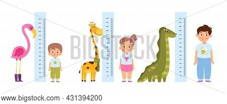 Kid Measure Height. Different Growth And Ages Children Stand Near Wall-mounted Growth Meters With Fu