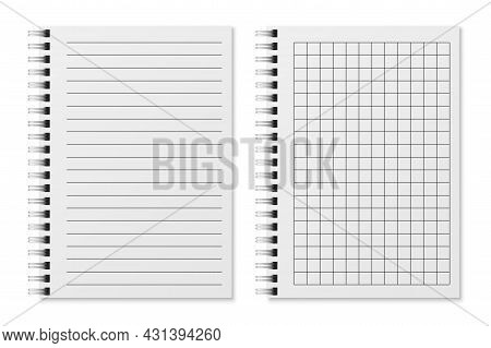 Realistic Empty Diary. Notebook Sheets In Lines And In Cage, Sketchbook For Writing Or Painting. Cop