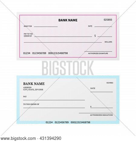 Bank Check. Blank Cheque Checkbook With Guilloche Pattern And Watermark. Unfilled Payment Paper Temp