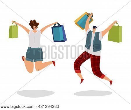 Jumping Customers With Gift Bags. Happy Shopping People. Fashion Byer Boy And Girl For Sale Or Disco
