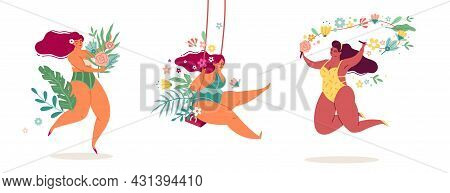 Ladies Body Positive. Women In Flowers Beautiful Tropical Leaves And Plants, Happy Girls In Bikinis,