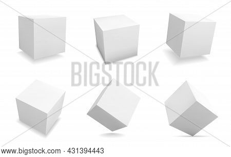 White 3d Cubes. Realistic Square Shapes. Isolated Abstract Geometric Blank Figures Set With Shadow.