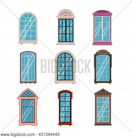 Windows Frames Flat. Colorful Various Wooden And Plastic Window Frame With Window Sills, Exterior Ar