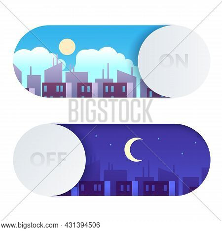 Day And Night Switch. Control Screen Lighting. Turn On Or Off Buttons With Cartoon Daytime And Night