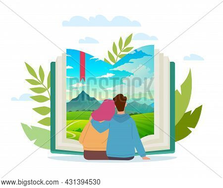 Joint Book Trip. Cartoon Couple Reading Together. Scenic Landscape At Paper Pages. Man And Woman Sit