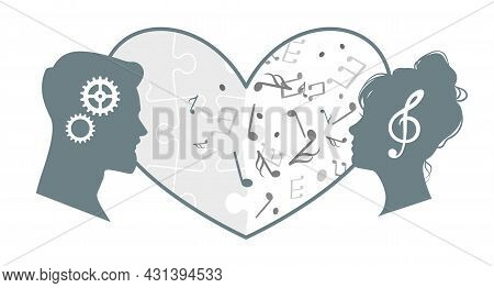 Love Of Different Minds. Couple Harmony Relationship. Differences In Interests Of Partners. Heads Wi