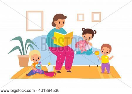 Reading Books. Woman Reads Fairy Tales To Children, Living Room Interior, Boys And Girls In Kinderga