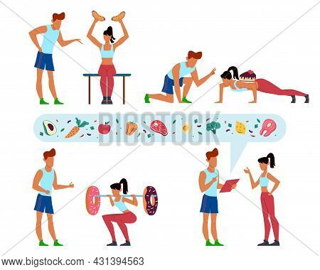 Working Off Kilocalories. Diet Instructions. People Training In Gym. Trainer Teaches Woman To Workou