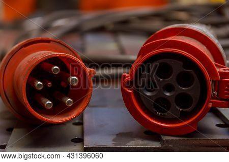 Three Phase Plug And Socket. 380 Volt. Three-phase Socket. Input And Output.