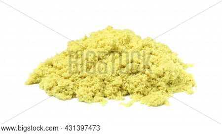Pile Of Yellow Kinetic Sand On White Background
