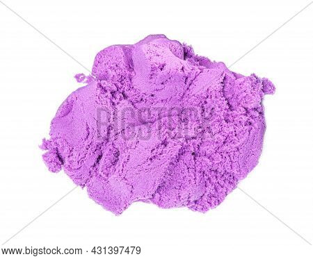 Pile Of Violet Kinetic Sand On White Background, Top View