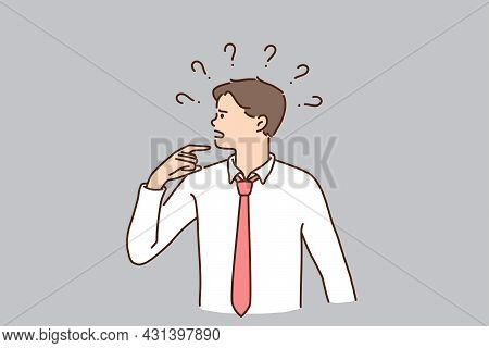 Frustration, Challenge And Risks Concept. Young Frustrated Businessman Cartoon Character Standing Fe