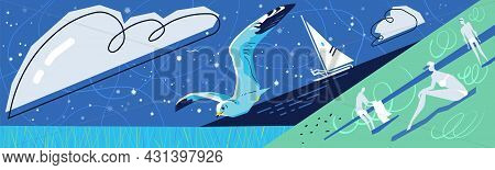 Flying Seagull Over The Sea Against The Background Of The Starry Sky, Yacht And People Who Are Resti