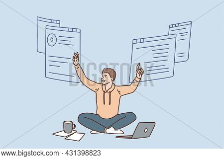 Freelance Work And Remote Location Concept. Young Smiling Man Worker Witting On Floor With Laptop An