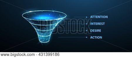 Funnel. Conversion Process, Data Filter, Sale Strategy, Client Flow, Interest Attention Desire Actio