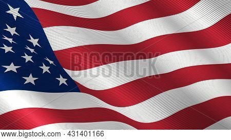 Usa Flag Flutters In The Wind. Us Flag With Striped Fabric Texture Closeup. Beautiful Americah Flag.