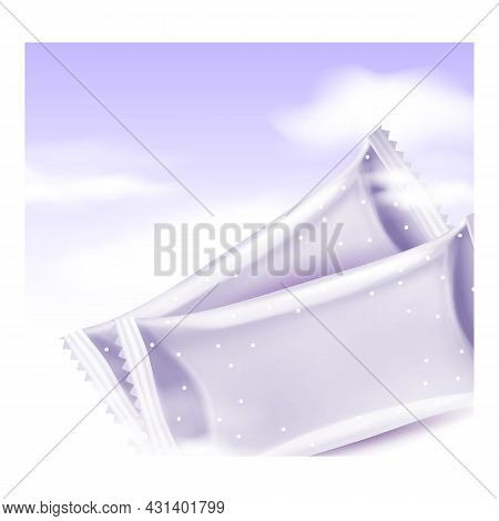 Baby Wipes Blank Bags Promotional Poster Vector. Baby Wipes From Natural Soft Materials, Hygiene San