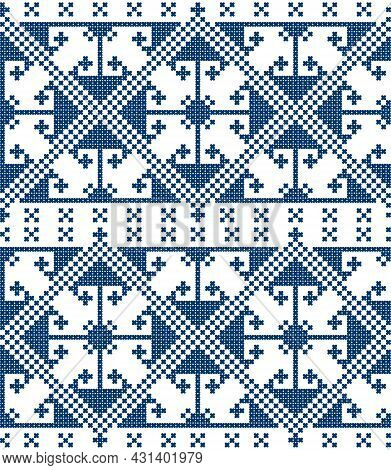 Zmijanje Cross Stitch Style Vector Folk Art Seamless Pattern - Textile Or Fabric Print Design From B