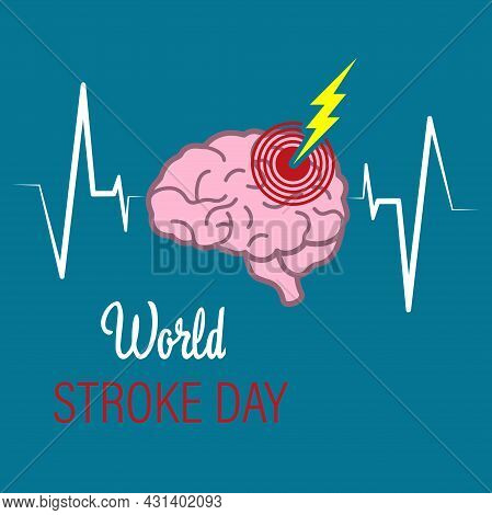 Vector Illustration Of The World Stroke Day. October 29. A Company In The Field Of Healthcare.