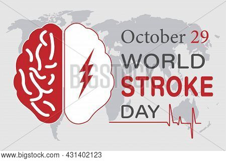 Vector Illustration On The Theme Of The World Stroke Day. October 29