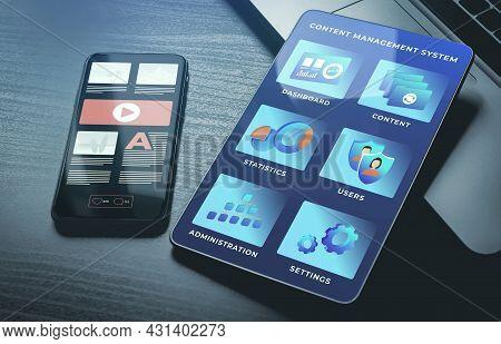 Cms - Content Management System Business Concept. Website Management Software For Administration, Co