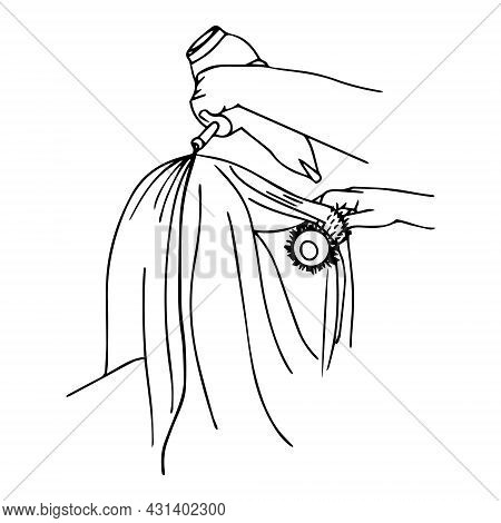 Cutting Hair At The Hairdresser. Getting A Haircut Vector Illustration. Professional Hairdresser Mak
